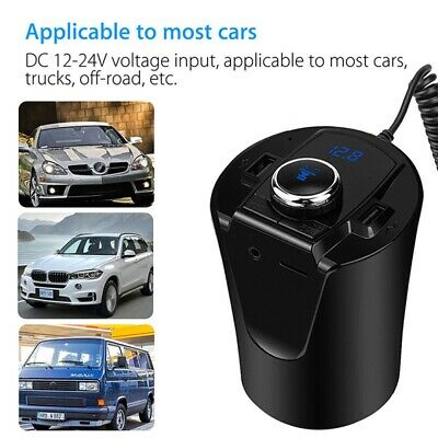 Wireless Cup Bluetooth 4.2 & EDR Car FM Transmitter MP3 Player Dual USB Charger