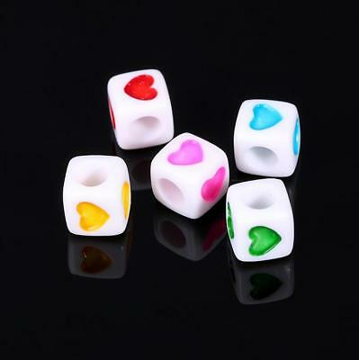NEW 100X Cubic Mixed Heart Acrylic Loose Beads Spacer Beads Necklace Jewelry 7mm