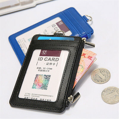 Leather ID Badge Card Holder Lanyard Necklace Zipper Card Case Business ID Bag