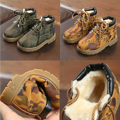 Infant Kids Camouflage Warm Shoes Girls Boys Winter Snow Martin Boots Slip On L