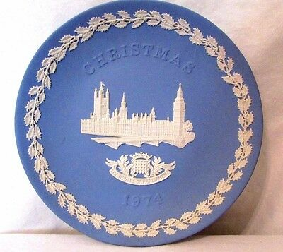 Jasperware Wedgwood Christmas Plate House Of Parliament 1974 Classic