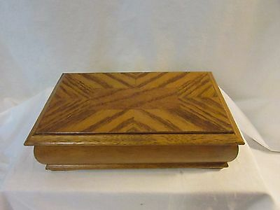 Vintage Wood Inlay Design Jewelry Box Mirrored inside Lid 1970's