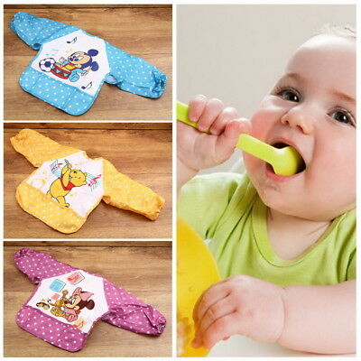 Cute Cartoon Children Baby Waterproof Long Sleeve Self Feeding Bib Apron CE