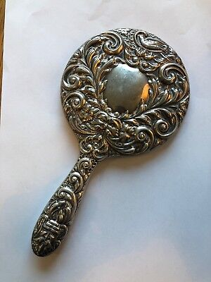 Antique Repousse Solid Hallmarked Silver Hand Mirror Or Dressing Table Mirror