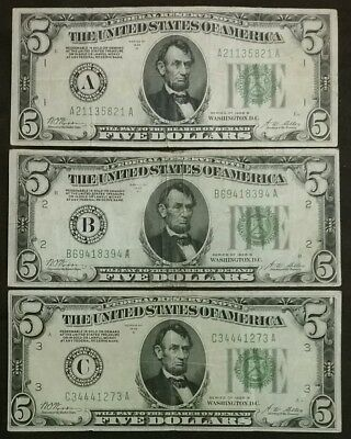 Lot of 3 1928-B A,B,C District $5 Bills REDEEMABLE IN GOLD Federal Reserve Notes