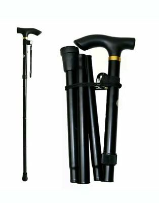 New Plain adjustable Fold-able Lightweight Aluminium Walking stick in black