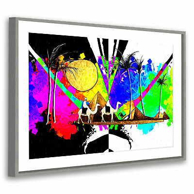 Retro Colourfil Egypt Modern Abstract Framed Wall Art Large Picture Prints