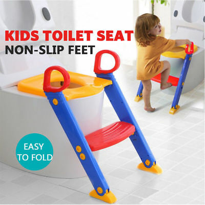 Children fold able Toilet Seat potty with Ladder Toddler Training easy Step Up