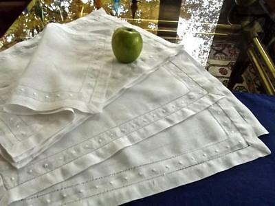 9 Vintage White Belgian Linen Placemats Embroidered Dots Drawnwork Hemstitched