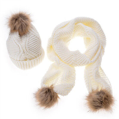 Fashion Knitted Hat Scarf Fur Pompom Hat Thick Winter Keep Warm Scarves Sets CB
