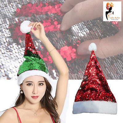 Christmas Santa Hat Reversible Sequins Deluxe Red Silver Fancy Dress Costume