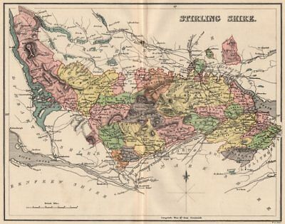 STIRLINGSHIRE. Antique county map. Parishes. Stirling. Scotland. LIZARS 1885