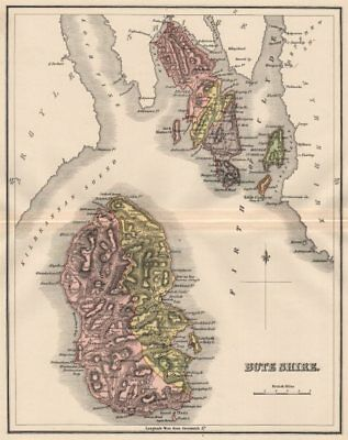 BUTESHIRE. County of Bute. Isle of Arran. Rothesay. Parishes. LIZARS 1885 map