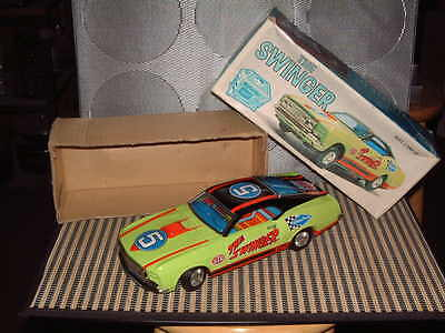 Tps Sears Fully Tin Ford Mustang Mach 1 The Swinger W/box & Fully Working T.p.s.