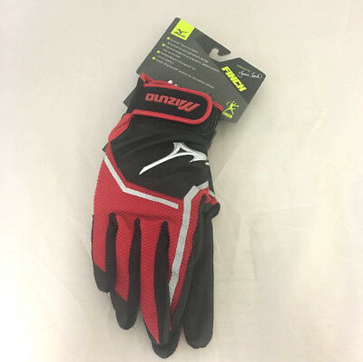 NEW Womens Mizuno Finch Fastpitch Batting Gloves Black / Red Size Small