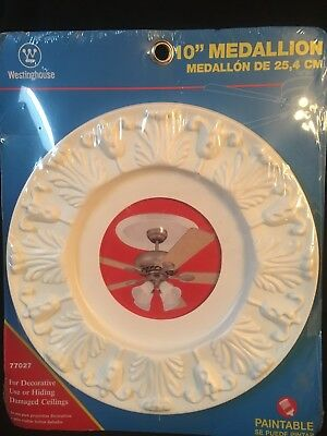 """Westinghouse 77027 Victorian White Ceiling Medallion, 10"""" New Paintable"""