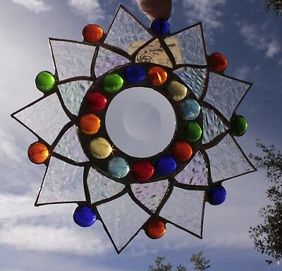 Leaded Stained Glass Sun Catcher Flower Hanging frosted #2