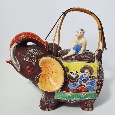 Old Japan Cloisonne Ceramic Brown Smiling Elephant Teapot With Old Mark