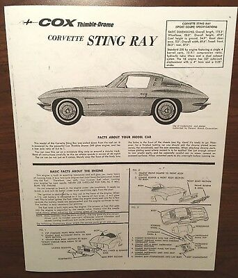 Cox Thmble Drome Corvette Sting Ray Car Owners Instruction Manual