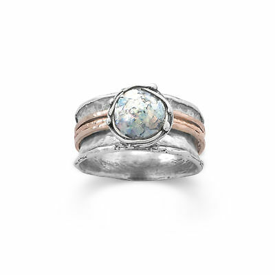 Ancient Roman Glass Ring Round with Rose Gold-plated Bands Sterling Silver