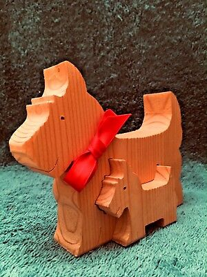 Unique Handmade WESTIE, SCOTTIE or CAIRN Terrier wooden Mom and Baby Figures