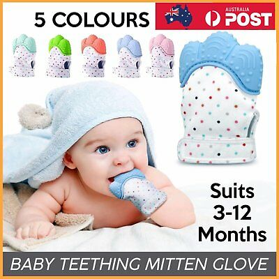 Silicone Baby Teether Teething Mitt Mitten Glove Safe BPA Free Chew Dummy Gu