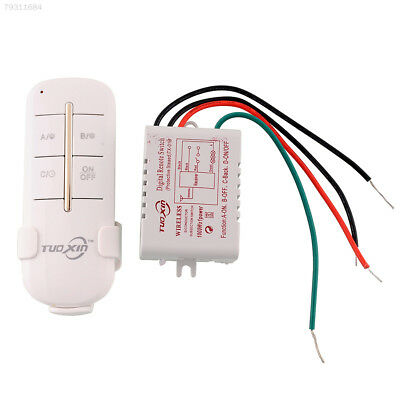 9DDC 1 Channel Way ON/OFF 220V Wireless Home Garage Wall Switch Splitter Remote