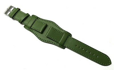 18mm 20mm 22mm 24mm ARMY GREEN LEATHER MILITARY STYLE CUFF Watch Strap with Pins