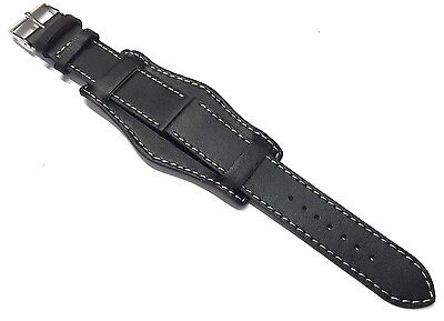 18mm 20mm 22mm 24mm BLACK MILITARY LEATHER 3 PIECE WATCH STRAP BAND CUFF & PINS