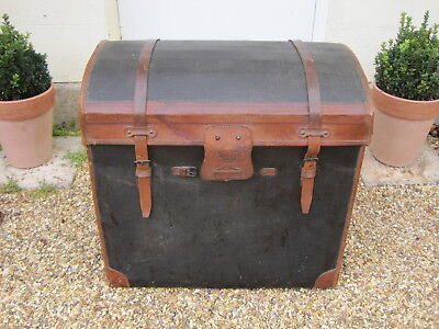 Vintage French Fibre and Leather Bound Domed Top Travelling Trunk*
