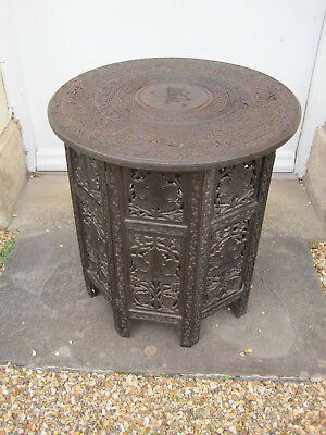Antique Anglo Indian Carved Hardwood Side Table *