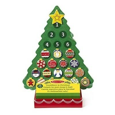Wooden Advent Calendar with magnetic decorations & inbuilt Tray