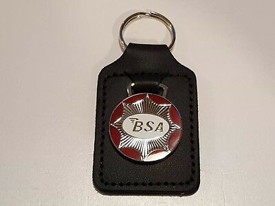 BSA MOTORCYCLES FAUX LEATHER KEY RING KEY FOB.BRITISH VINTAGE BSA MOTORCYCLES.