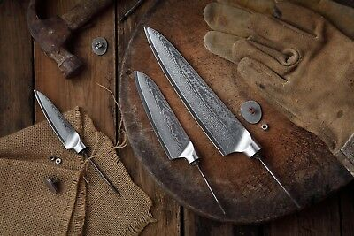 KATSURA Japanese Damascus AUS 10 woodworker Chef knife set kit blank-No logo,3pc