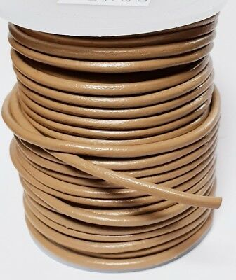 Quality Leather Lacing Cord 3mm diameter ROUND KHAKI Choice of lengths 1m - 25m