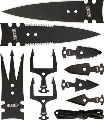 Marbles Black Stainless Steel Spear Head Combo Gig Set w/ 9 Spears MR379