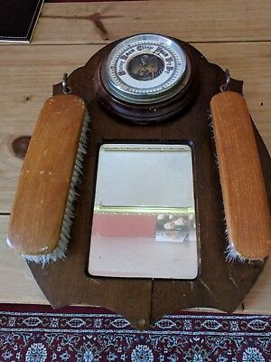Vintage aneroid barometer,Mirrored brush holder and brushes,pressure tested GWO