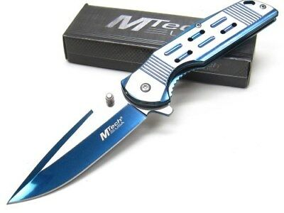 Mtech MTA1019BL Blue Assisted Straight Tinite 3Cr13 Steel Folding Pocket Knife