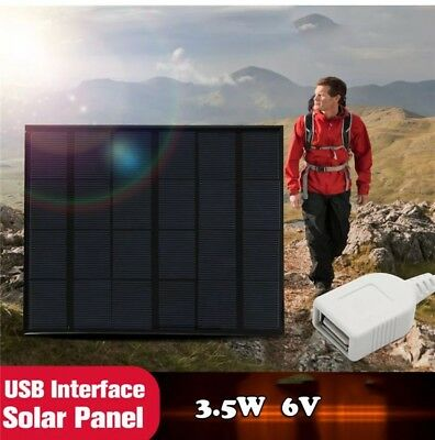 1x Solar Panel Charger Pane Portable  Battery Travel (3.5W 6V) For Cell Phone