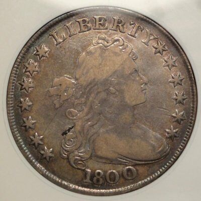 1800 Draped Bust Dollar, ANACS Fine-12, Certified Early Silver Dollar Type