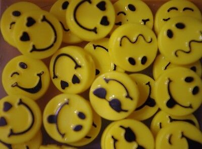 Expressions Emoji Faces 6 Different Emotions Plastic Loose Beads 24 Count/4 Each
