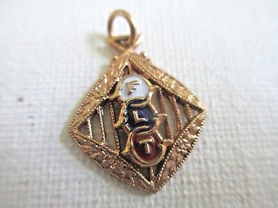 Antique/vintage Flt Improved Order Of Odd Fellows 1/20 12K Fob Charm