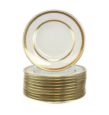 11 Minton Tiffany & Co. Porcelain Bread & Butter Plates, Gold Band #G8338, c1900