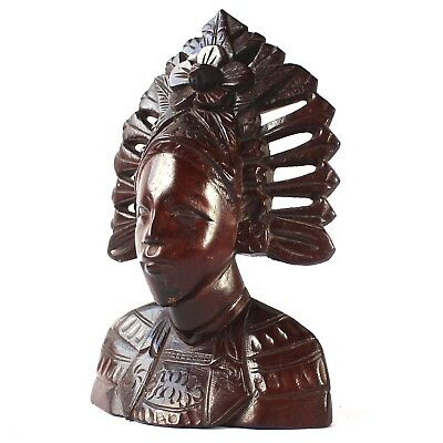 Balinese Wood Sculpture Hand Carved Bust Lady with Headress  H17.5cm C20th