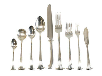 Porter Blanchard Sterling Silver 9pc Service for 8 Flatware Set Georgian Scroll