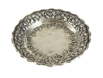 Wood & Hughes Sterling Silver Dish #259C. 19th Century. Repousse Floral Rim