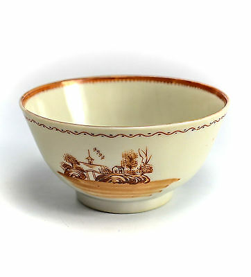 Chinese Export Porcelain Cup & Saucer, c1820 Hand Painted Orange Pastoral Scene