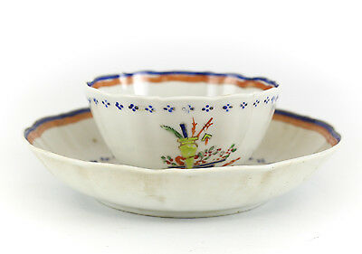 Chinese Export Porcelain Cup & Saucer, c1800 Scalloped Rim Multi-color Floral