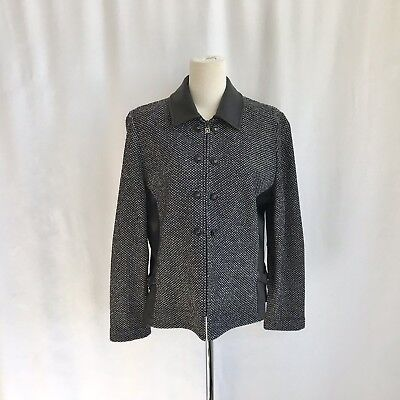 St. John Collection Marie Gray Zip Up Tweed Blazer/jacket Leather Collar/side 4