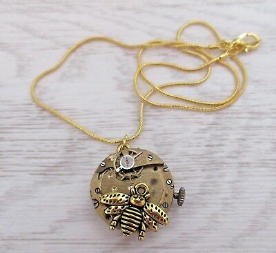 STEAMPUNK real vintage watch movement gold tone with bee charm necklace pendant